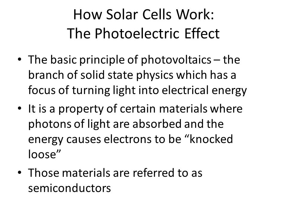 How Solar Cells Work: The Photoelectric Effect
