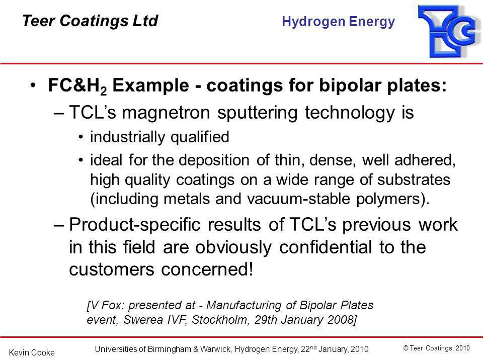 FC&H2 Example - coatings for bipolar plates: