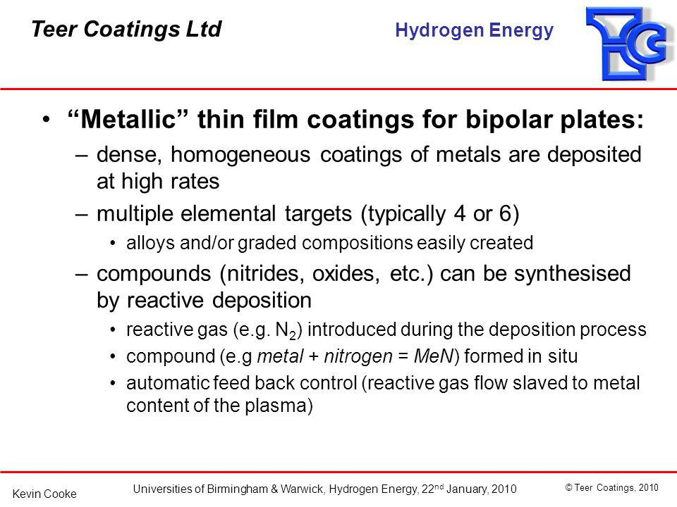 Metallic thin film coatings for bipolar plates: