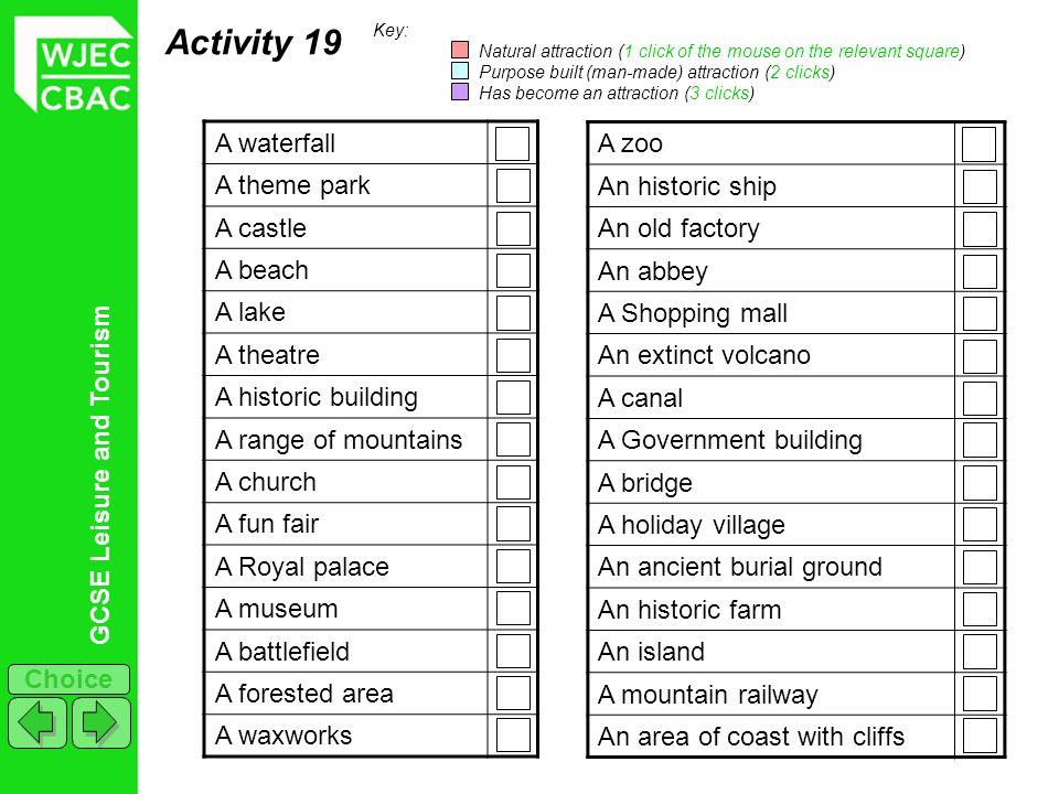 Activity 19 A waterfall A theme park A castle A beach A lake A theatre