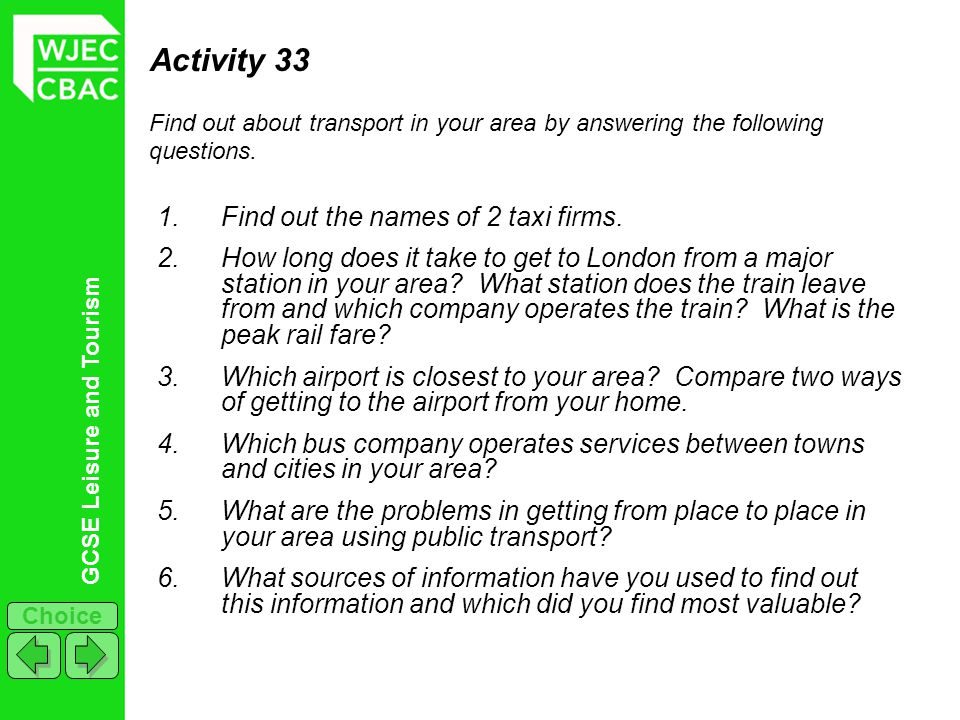 Activity 33 Find out the names of 2 taxi firms.