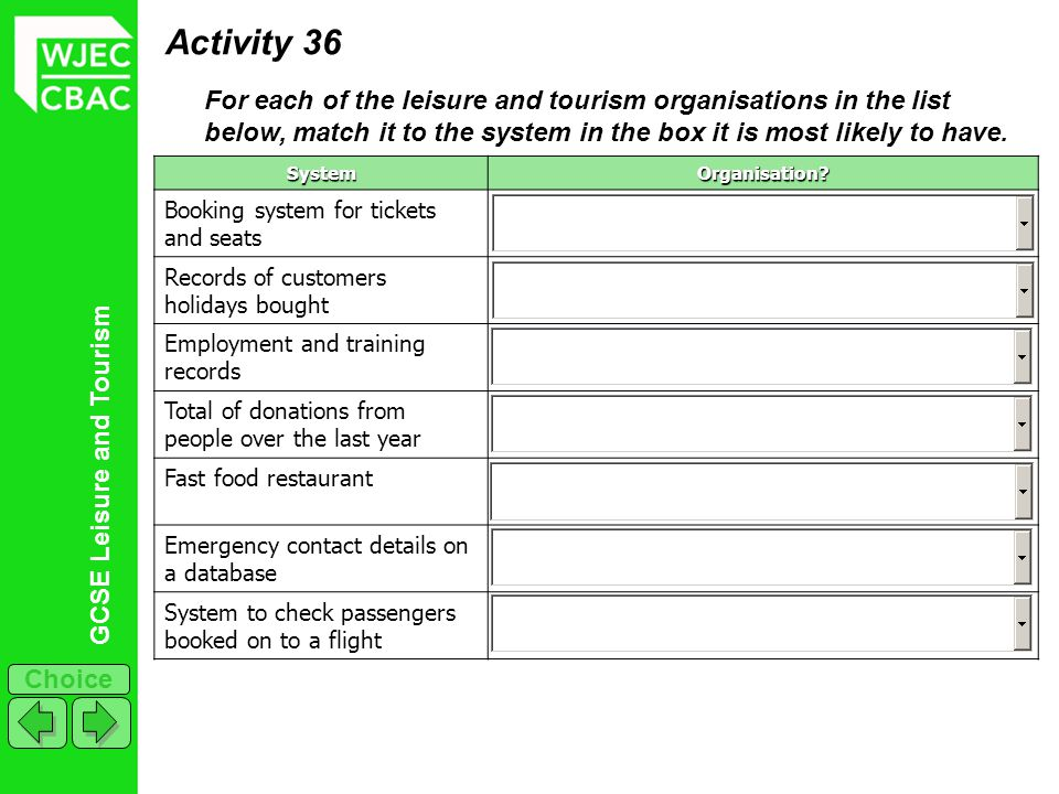 Activity 36 For each of the leisure and tourism organisations in the list below, match it to the system in the box it is most likely to have.