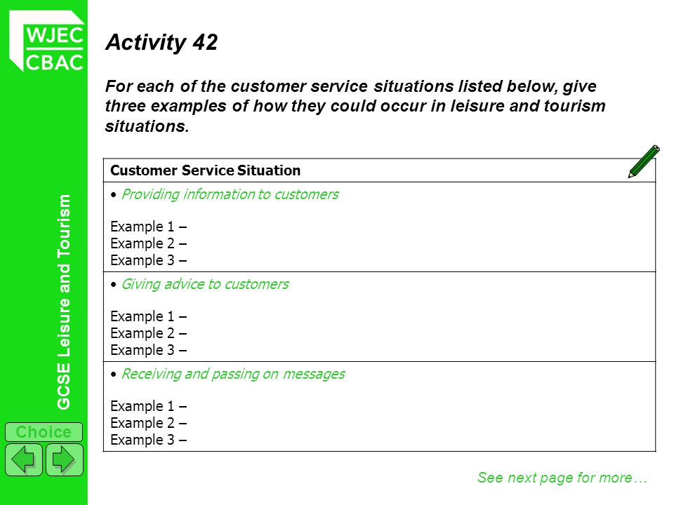 Activity 42 For each of the customer service situations listed below, give three examples of how they could occur in leisure and tourism situations.