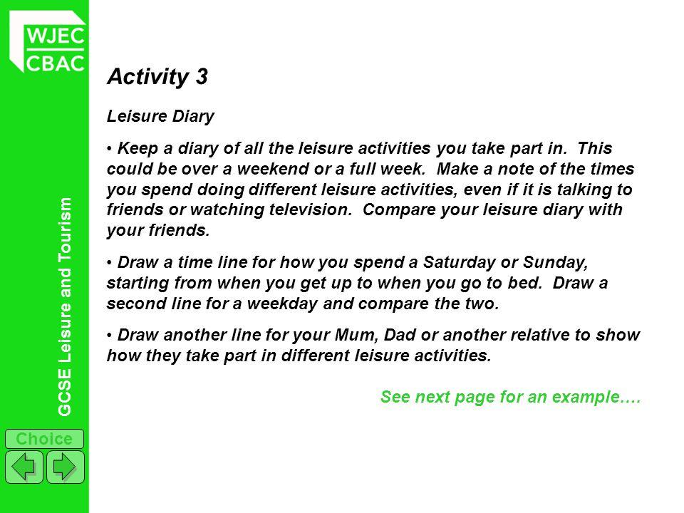 Activity 3 Leisure Diary
