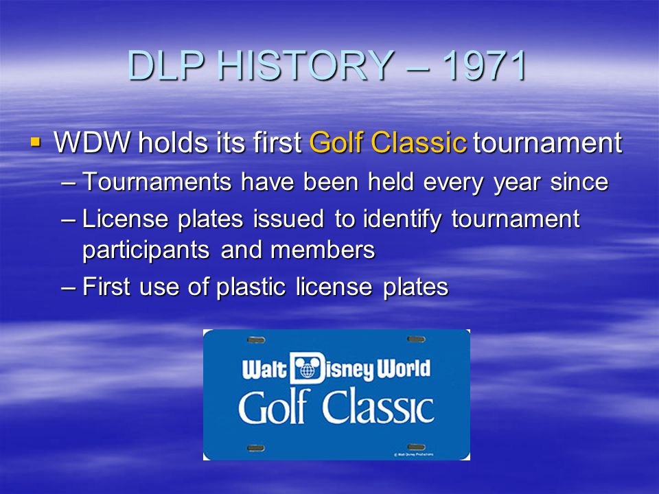 DLP HISTORY – 1971 WDW holds its first Golf Classic tournament