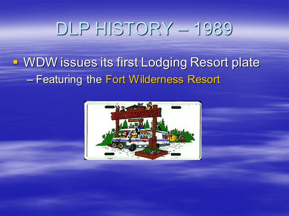 DLP HISTORY – 1989 WDW issues its first Lodging Resort plate