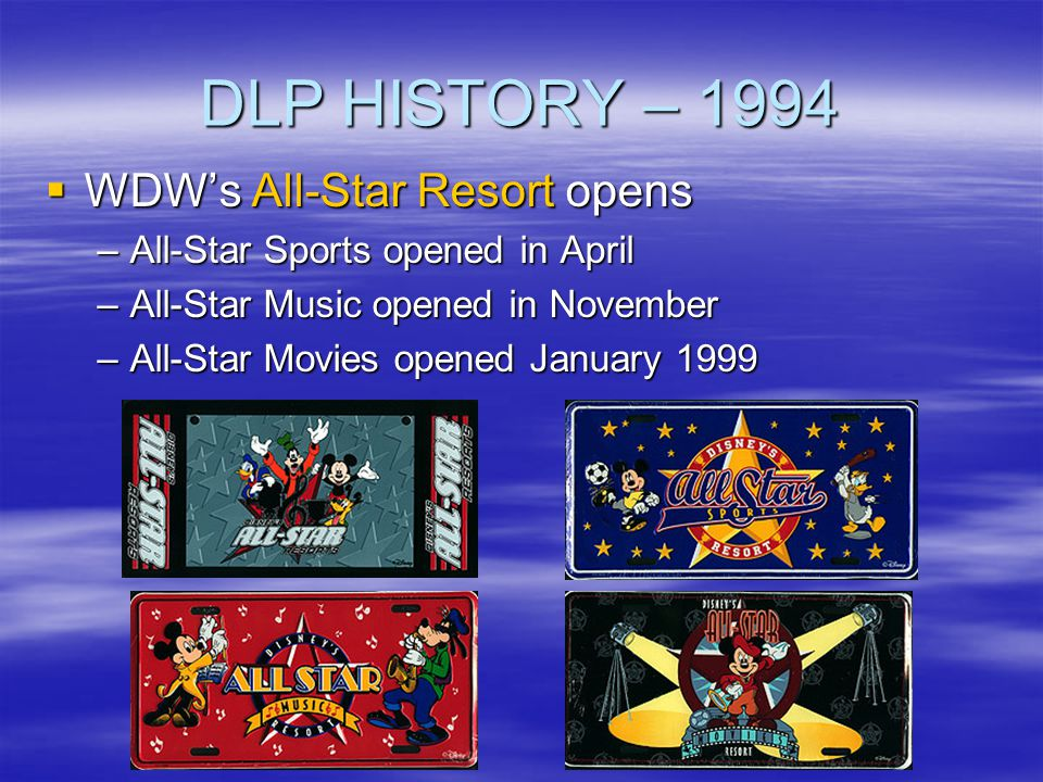DLP HISTORY – 1994 WDW's All-Star Resort opens