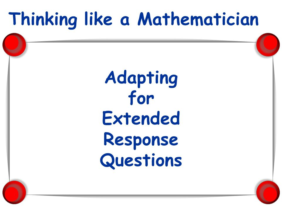 Adapting for Extended Response Questions