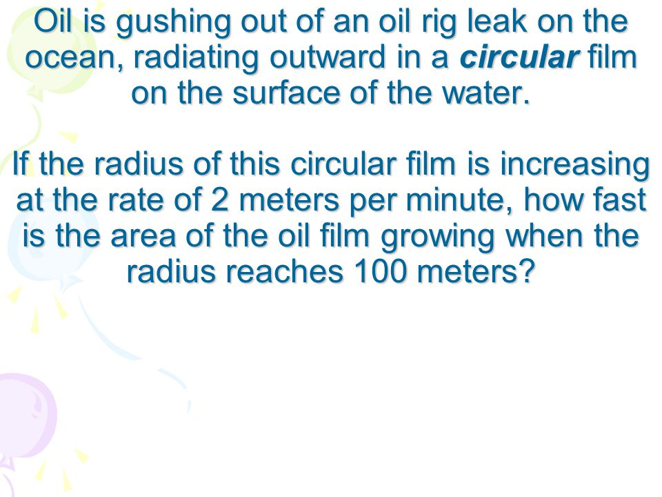 Oil is gushing out of an oil rig leak on the ocean, radiating outward in a circular film on the surface of the water.