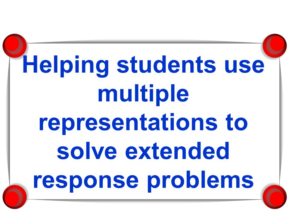 Helping students use multiple representations to solve extended response problems