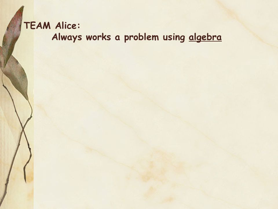 TEAM Alice: Always works a problem using algebra