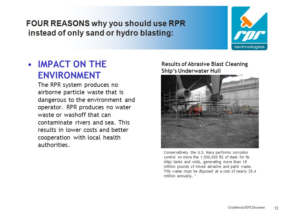 FOUR REASONS why you should use RPR instead of only sand or hydro blasting: