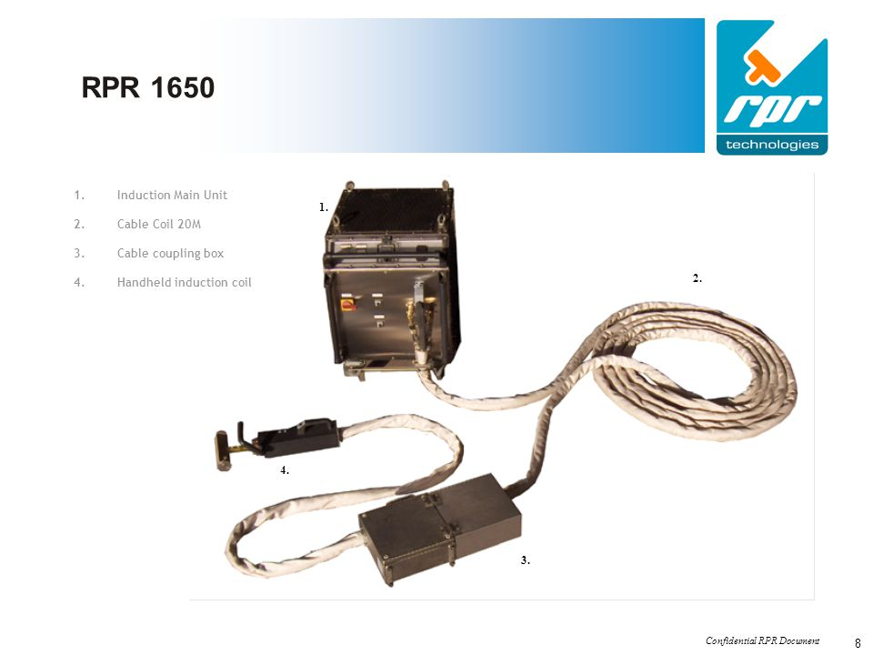 RPR 1650 Induction Main Unit 1. Cable Coil 20M Cable coupling box