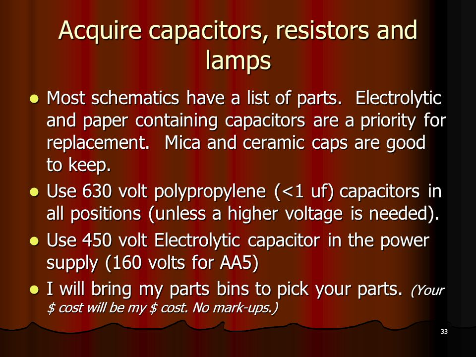 Acquire capacitors, resistors and lamps