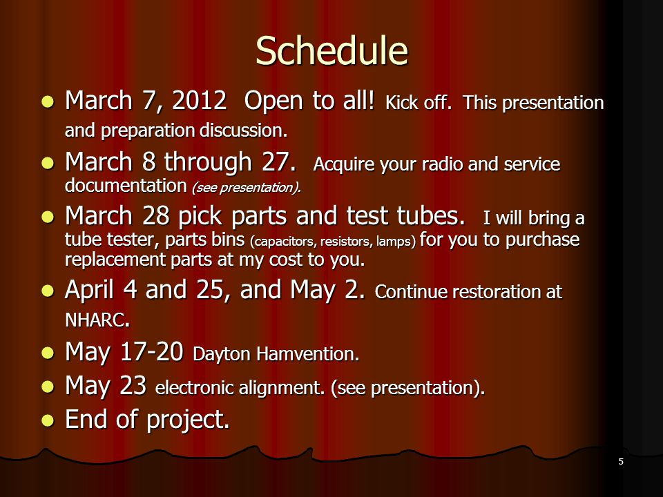 Schedule March 7, 2012 Open to all! Kick off. This presentation and preparation discussion.