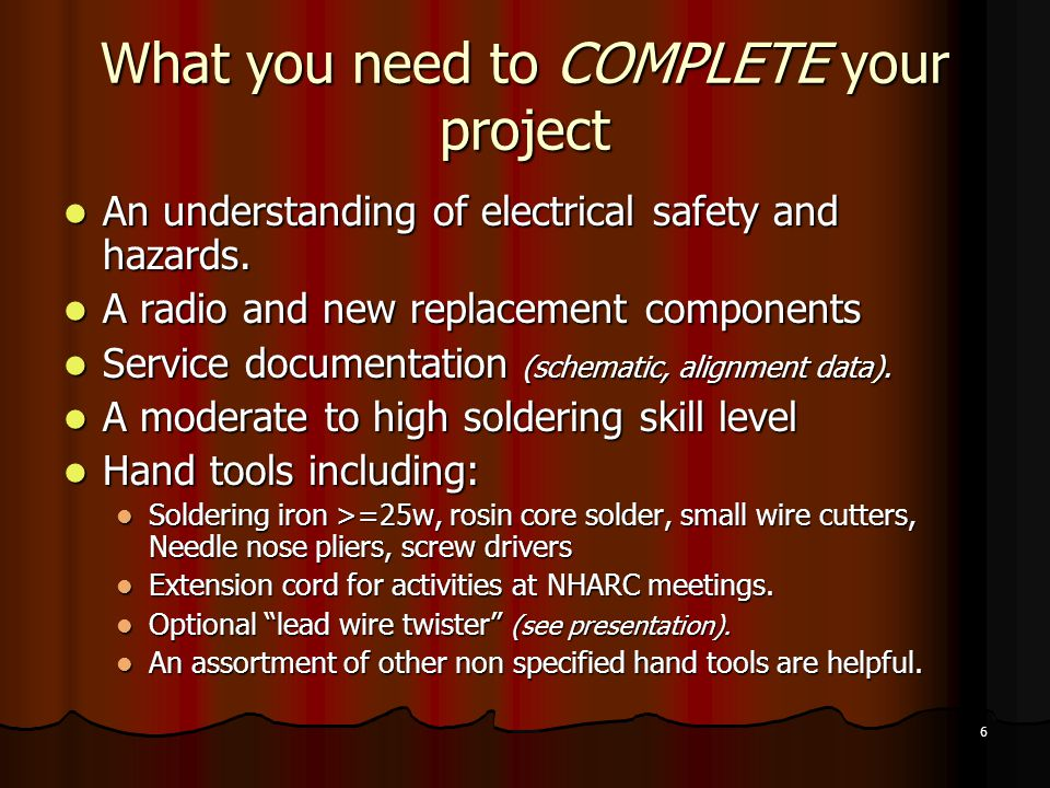 What you need to COMPLETE your project
