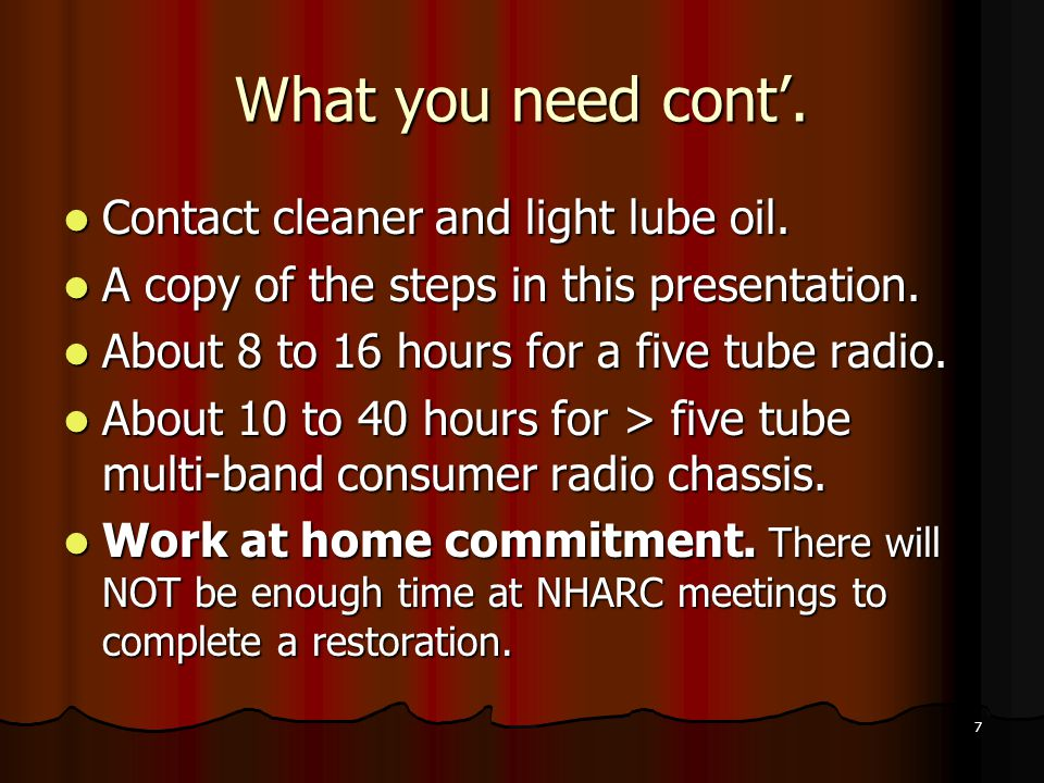 What you need cont'. Contact cleaner and light lube oil.