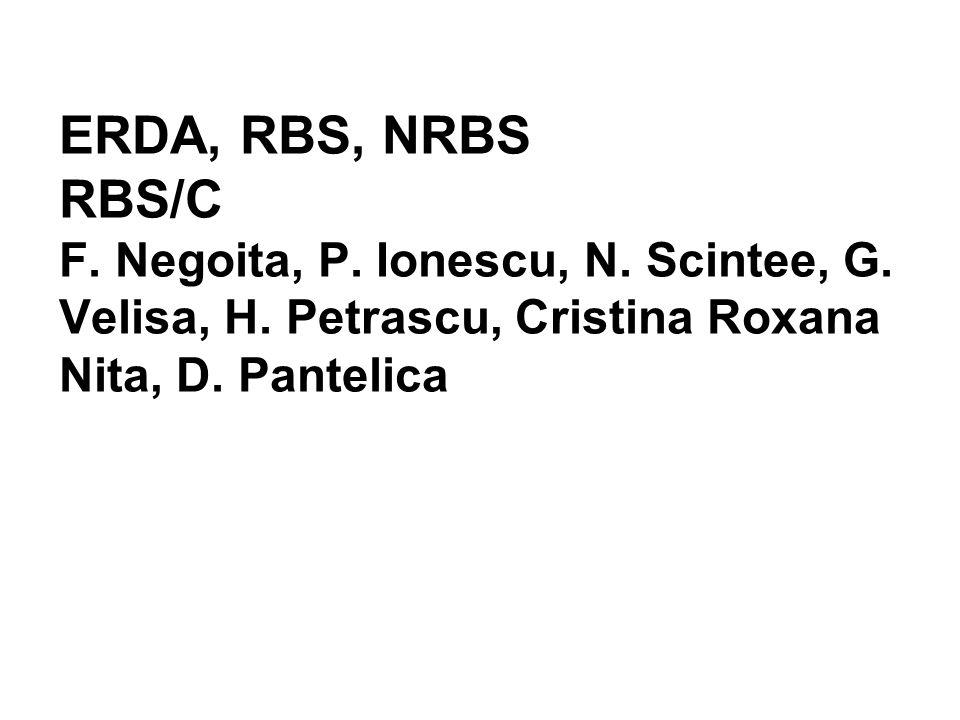 ERDA, RBS, NRBS RBS/C F. Negoita, P. Ionescu, N. Scintee, G. Velisa, H