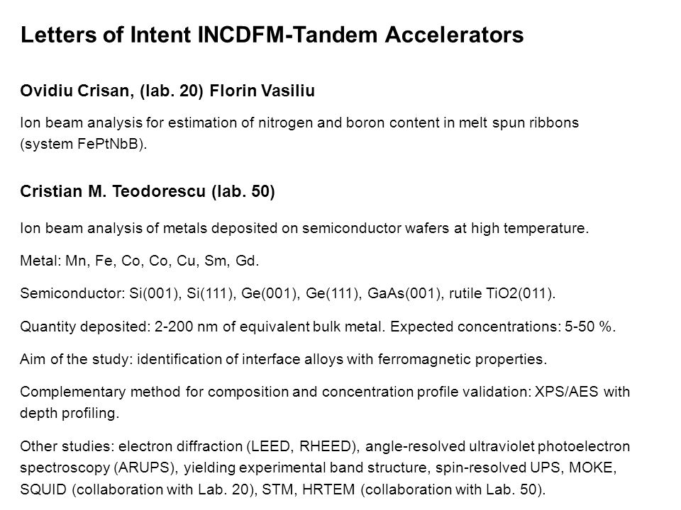 Letters of Intent INCDFM-Tandem Accelerators