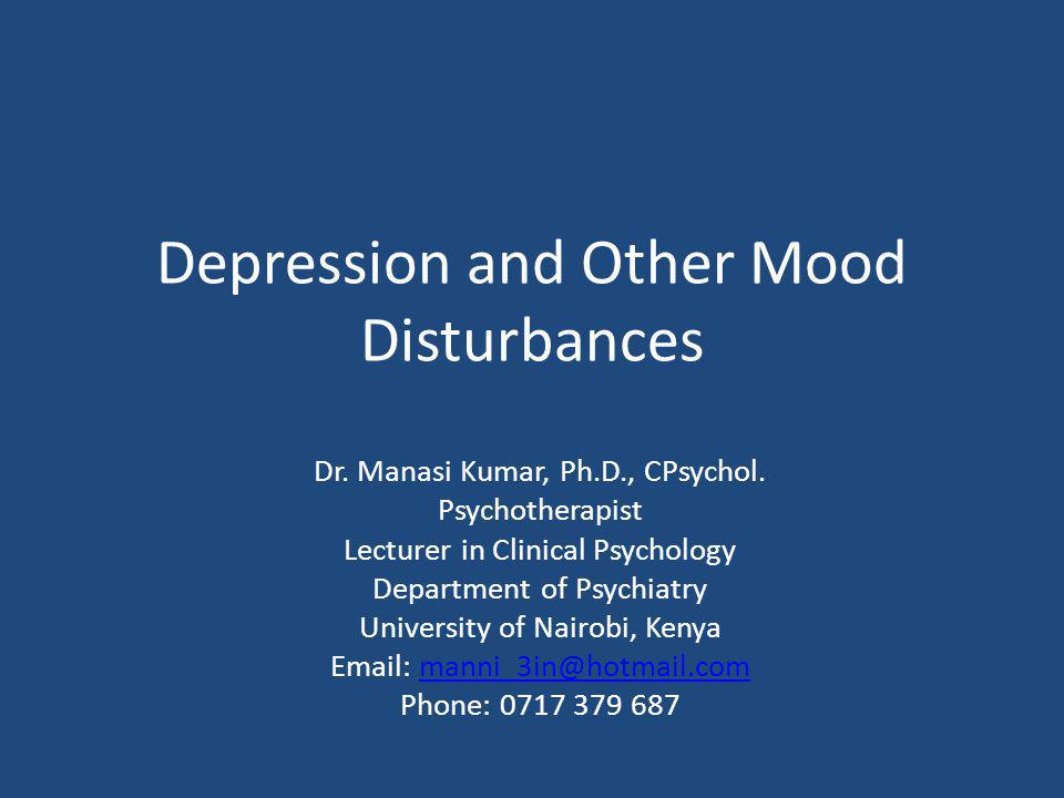 Depression and Other Mood Disturbances