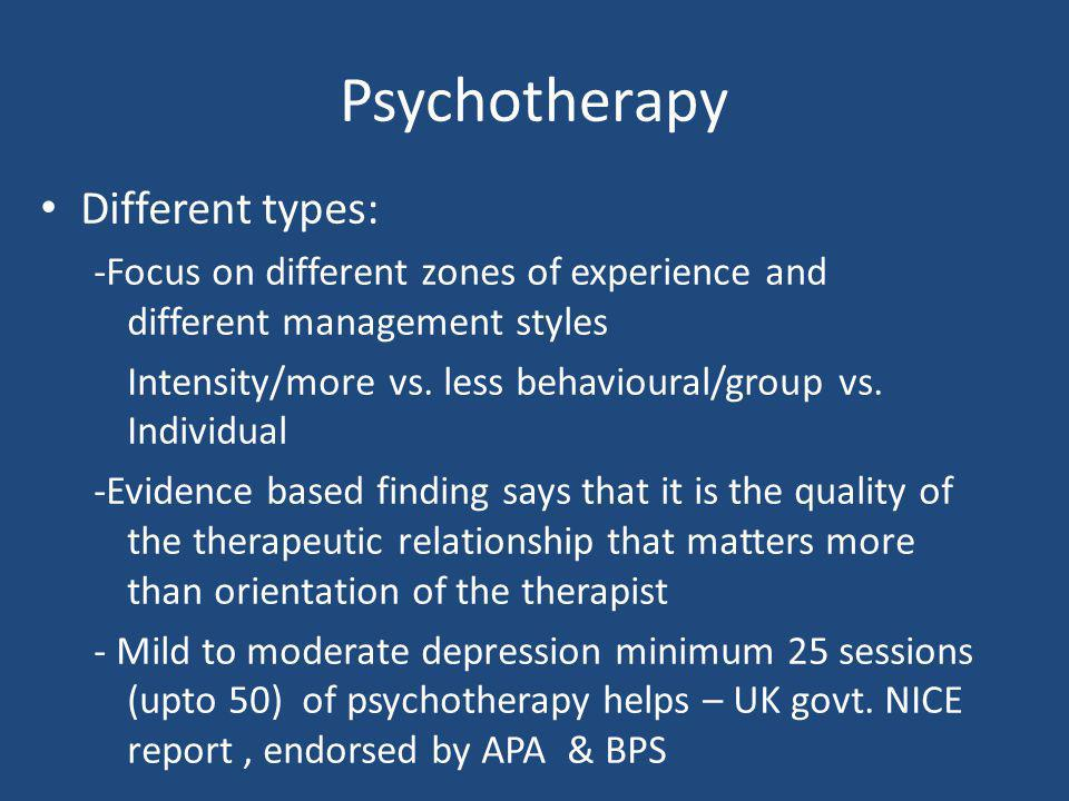 Psychotherapy Different types: