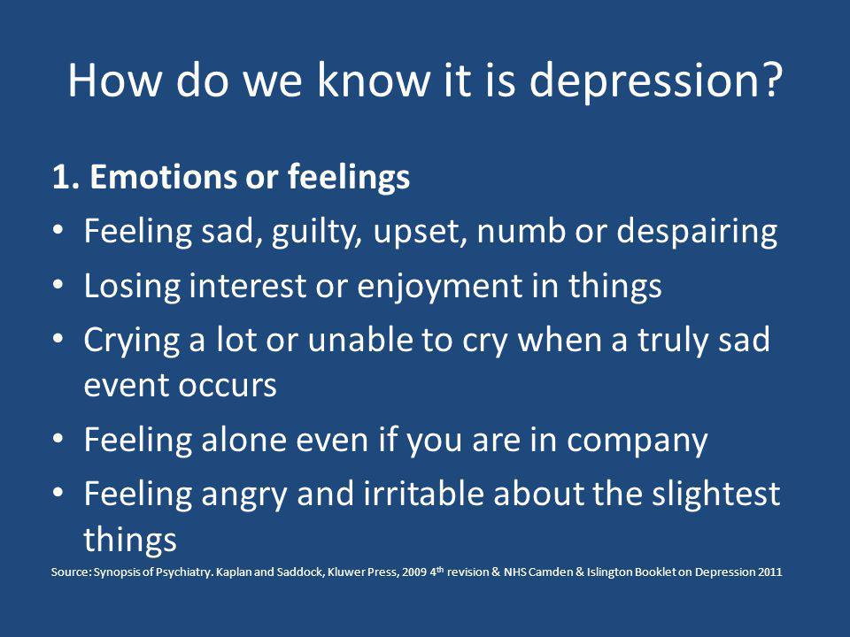 How do we know it is depression