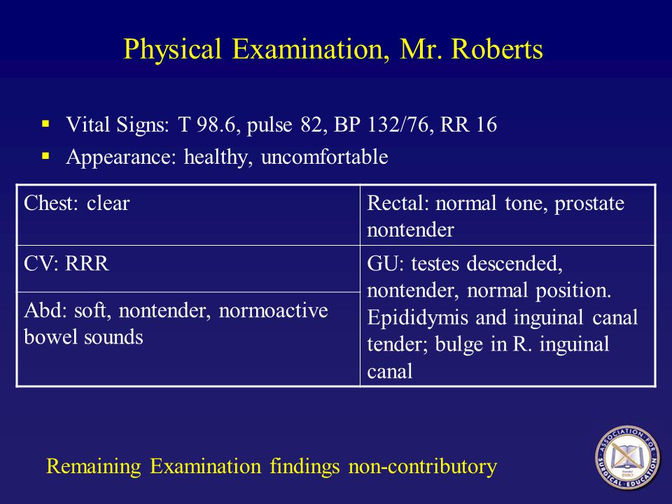 Physical Examination, Mr. Roberts