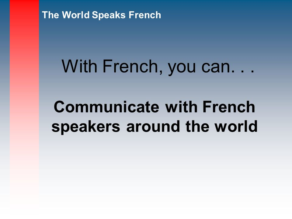 Communicate with French speakers around the world