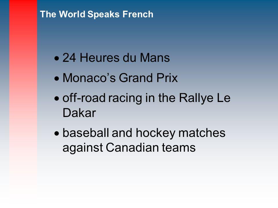 24 Heures du Mans Monaco's Grand Prix. off-road racing in the Rallye Le Dakar.