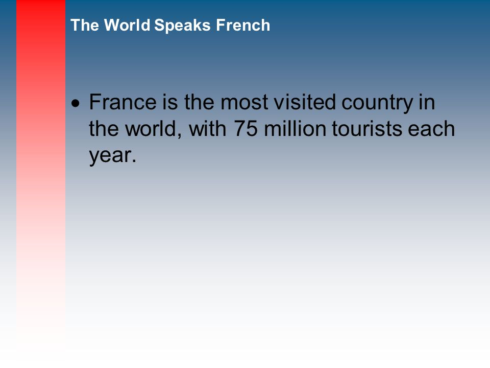 France is the most visited country in the world, with 75 million tourists each year.