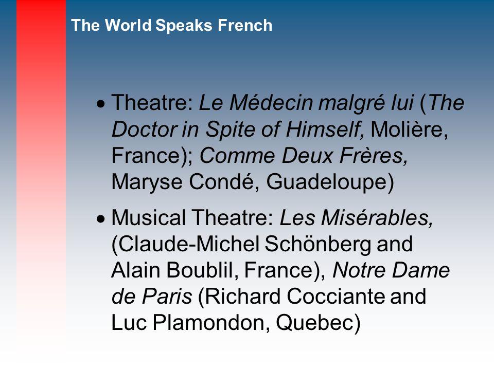 Theatre: Le Médecin malgré lui (The Doctor in Spite of Himself, Molière, France); Comme Deux Frères, Maryse Condé, Guadeloupe)