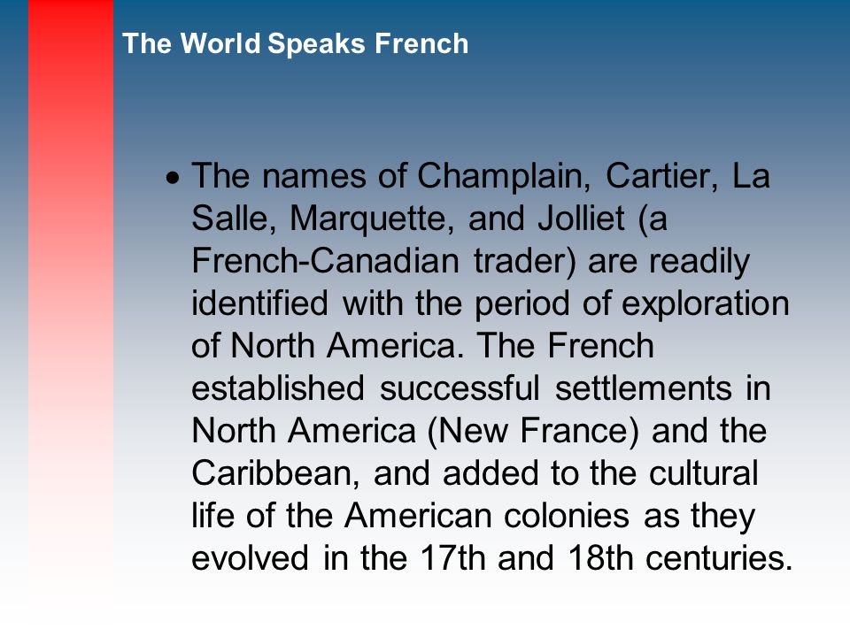 The names of Champlain, Cartier, La Salle, Marquette, and Jolliet (a French-Canadian trader) are readily identified with the period of exploration of North America.
