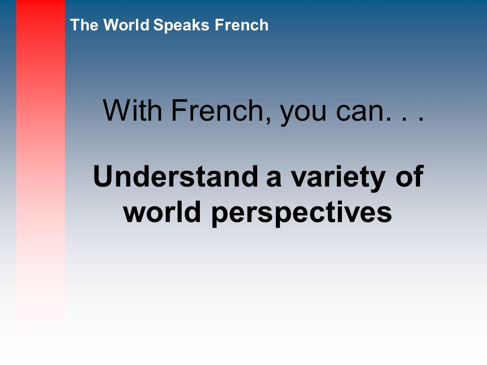 Understand a variety of world perspectives