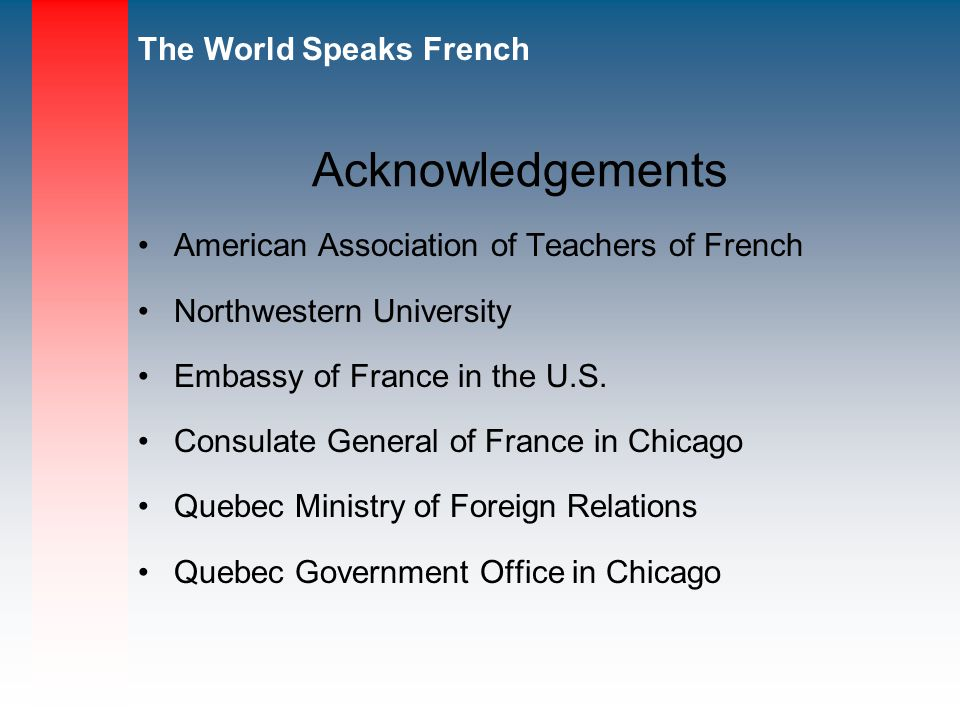 Acknowledgements American Association of Teachers of French