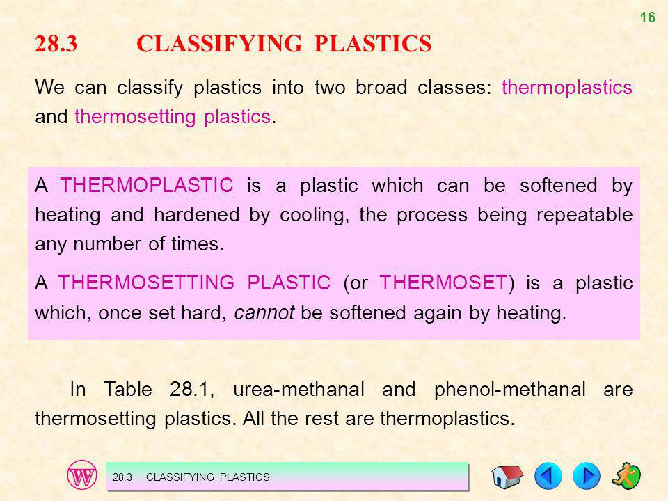 28.3 CLASSIFYING PLASTICS We can classify plastics into two broad classes: thermoplastics and thermosetting plastics.