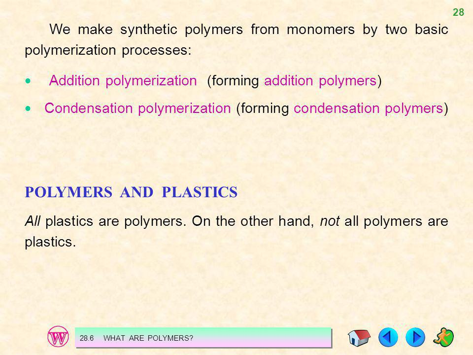 We make synthetic polymers from monomers by two basic polymerization processes:
