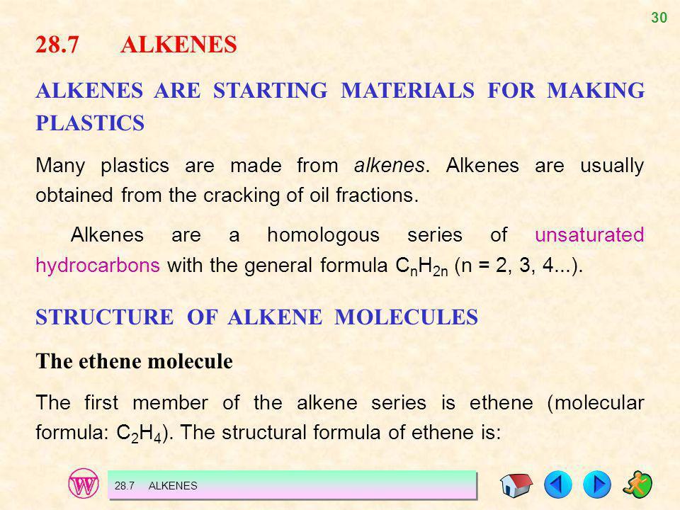 28.7 ALKENES ALKENES ARE STARTING MATERIALS FOR MAKING PLASTICS
