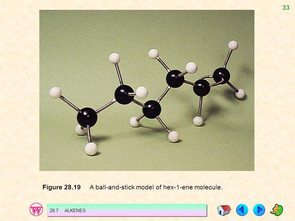Figure 28.19 A ball-and-stick model of hex-1-ene molecule.