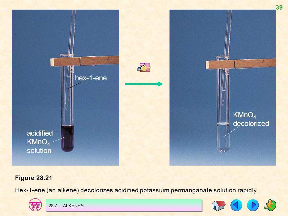 hex-1-ene KMnO4 decolorized acidified KMnO4 solution Figure 28.21