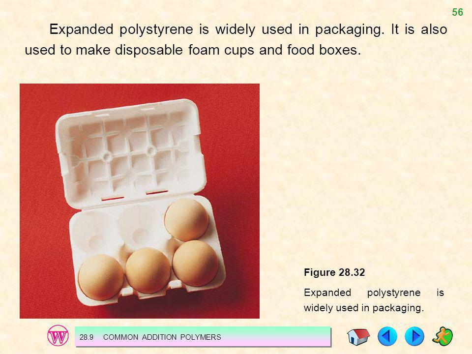 Expanded polystyrene is widely used in packaging