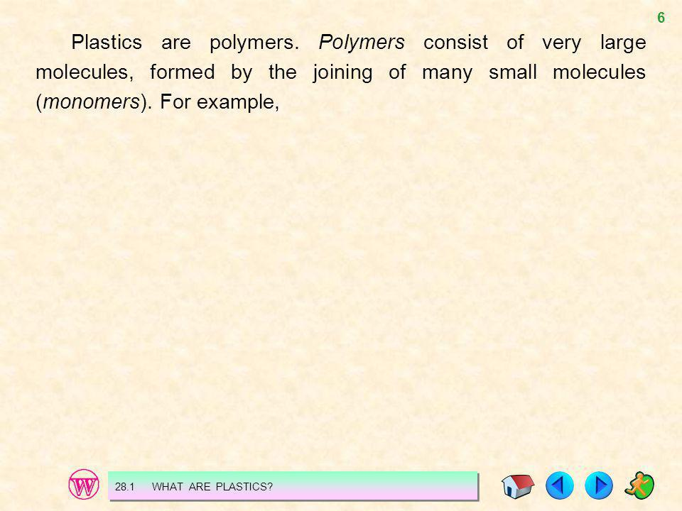 Plastics are polymers. Polymers consist of very large molecules, formed by the joining of many small molecules (monomers). For example,