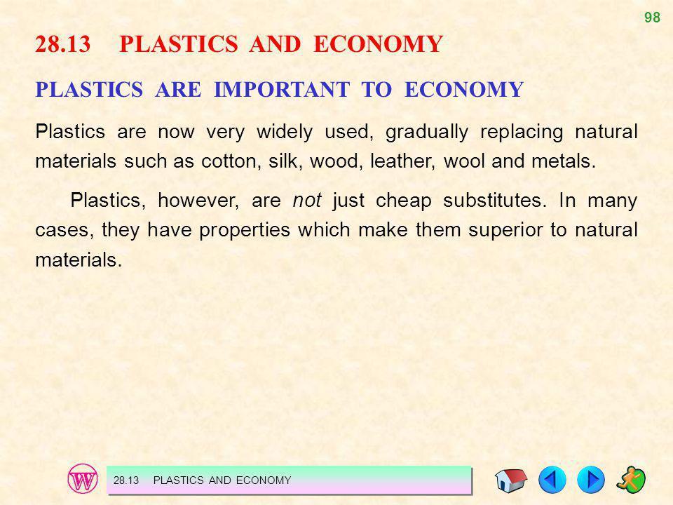 28.13 PLASTICS AND ECONOMY PLASTICS ARE IMPORTANT TO ECONOMY