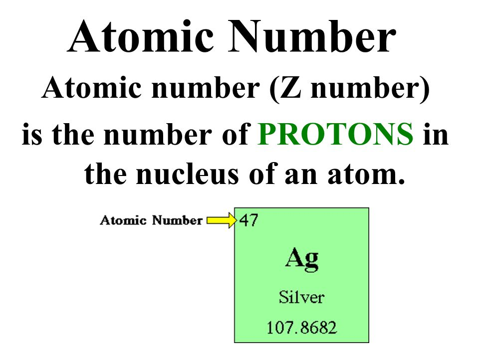 Atomic Number Atomic number (Z number)
