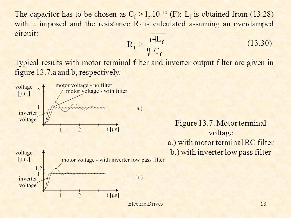 Figure 13.7. Motor terminal voltage a.) with motor terminal RC filter