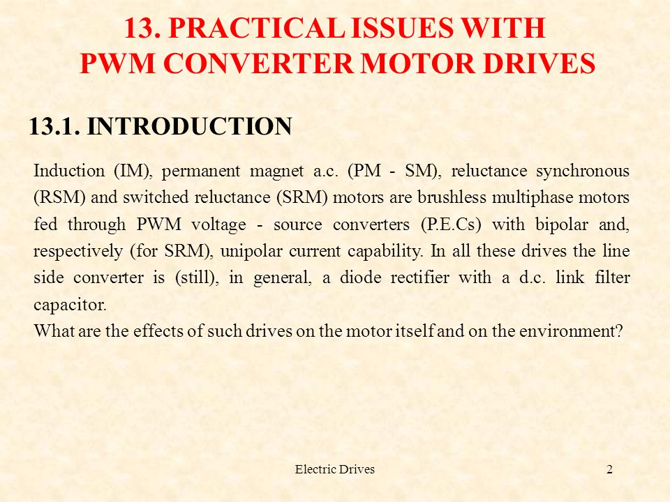 PWM CONVERTER MOTOR DRIVES