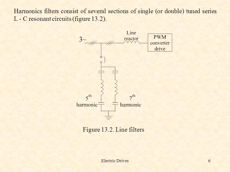 Harmonics filters consist of several sections of single (or double) tuned series L - C resonant circuits (figure 13.2).
