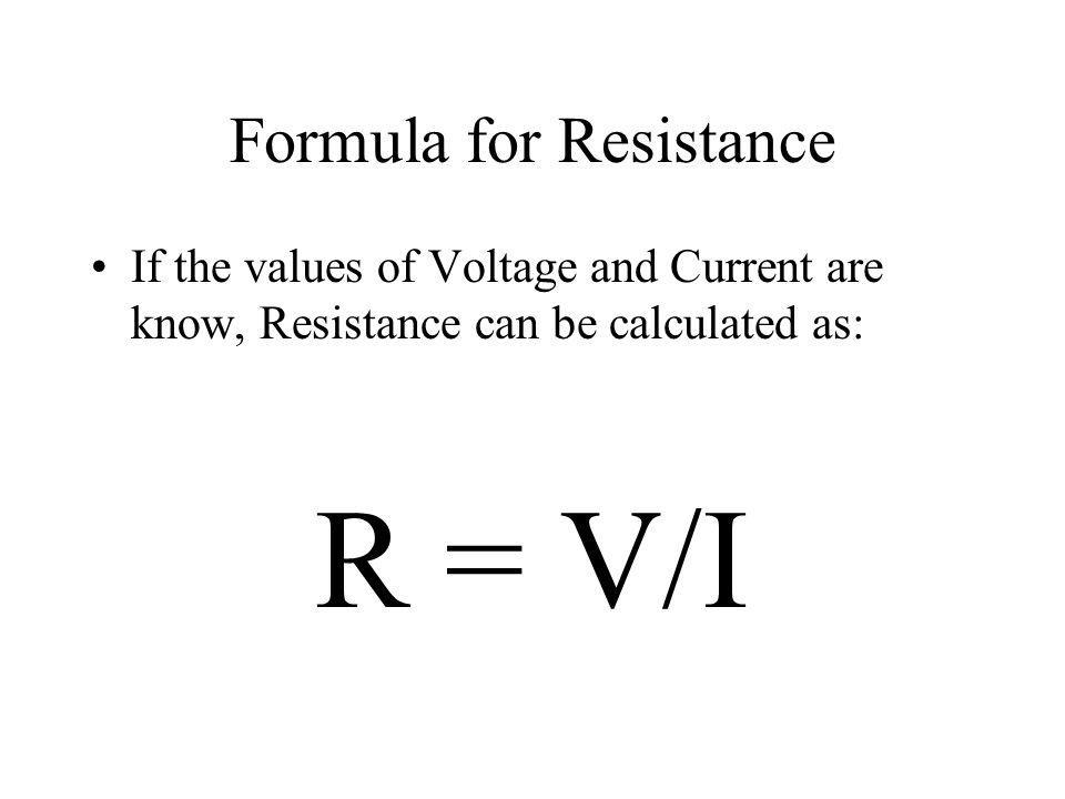 Formula for Resistance