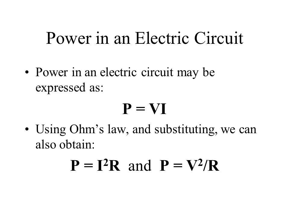 Power in an Electric Circuit