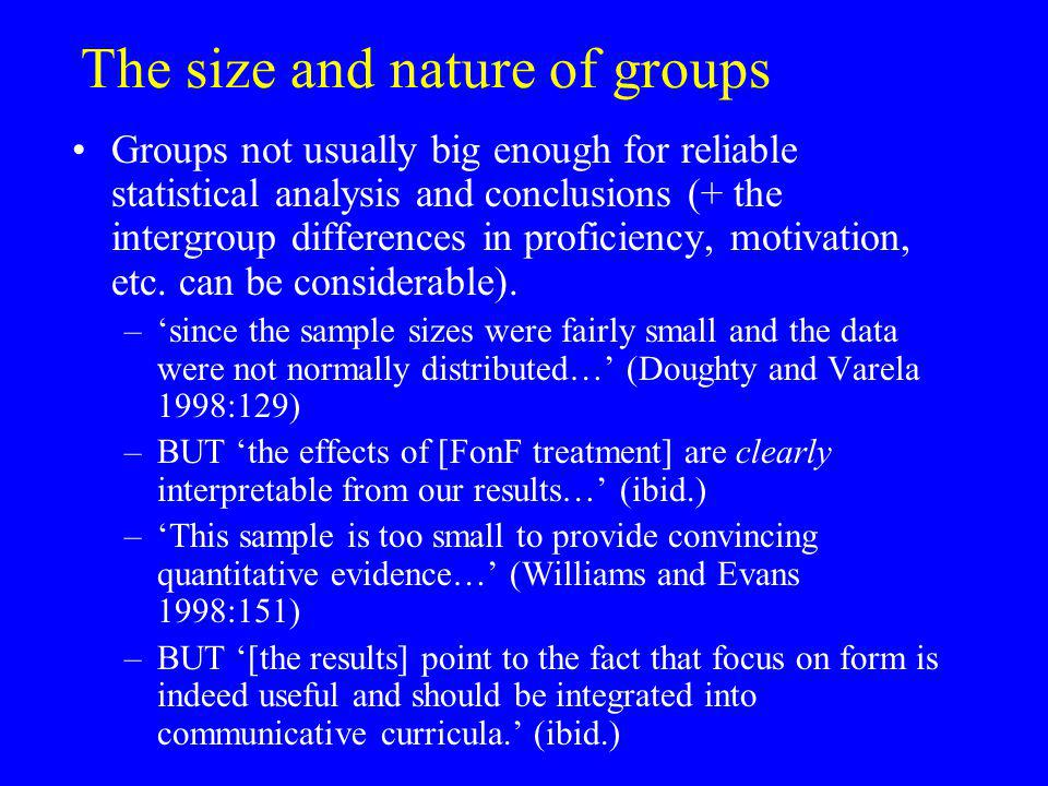 The size and nature of groups