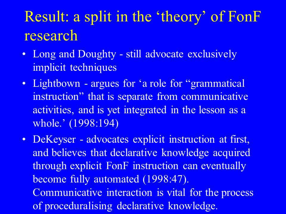 Result: a split in the 'theory' of FonF research